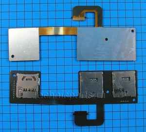 Разъем sim и flash карты с шлейфом для HTC One Dual Sim 802w