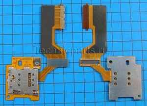 Разъем sim карты с шлейфом для HTC One M9
